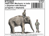 WWII RAF Mechanic in India + Elephant with Mahout (2 fig. + elephant) in 1/72