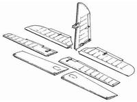 Me 410 B - control surfaces set for REV - MON