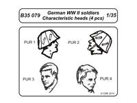 German WWII soldiers-character.heads 4 pcs