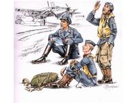 German pilots at rest WW II (3 fig.)