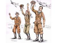 Japanese kamikaze pilots (3 fig.)