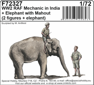 WWII RAF Mechanic in India + Elephant with Mahout (2 fig. + elephant) in 1/72  - 1