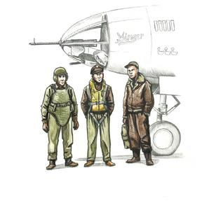 1/72 WWII US bomber pilot and two gunners  - 1