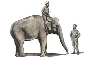 1/48 WWII RAF Mechanic in India+Elephant with Mahout (2 fig. + elephant)  - 1