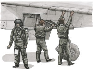French pilot and two mechanics for Special Hobby Mirage F.1C model