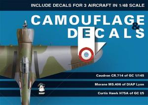 Camouflage and Decals Caudron CR.714; Morane Ms.406;Curtiss Hawk H75A 1/48  - 1
