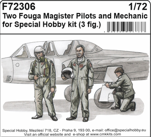 Two Fouga Magister Pilots and a Mechanic for 1/72 SH kit (3fig)  - 1
