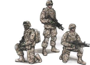 1/72 Two Kneeling Soldiers and Commanding Officer, US Army Infantry Squad 2nd Division  - 1