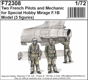 Two French Pilots and Mechanic for Special Hobby Mirage F.IB Model  - 1