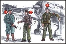 Japanese Army Pilots (2 fig.) And Mechanics W