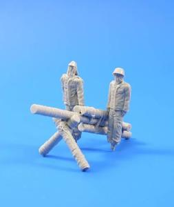 Jap.Army dummy sold.and howitzer-WWII 2fig.