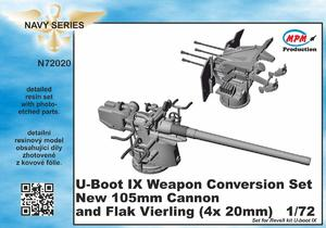 U-Boot IX Weapon Conversion set new 105mm cannon and  Flak Vierling for REV