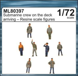 Submarine crew on the deck arriving to the po