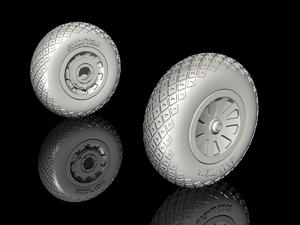 P-51D Mustang Wheels (Diamond and Hole Tread  - 2